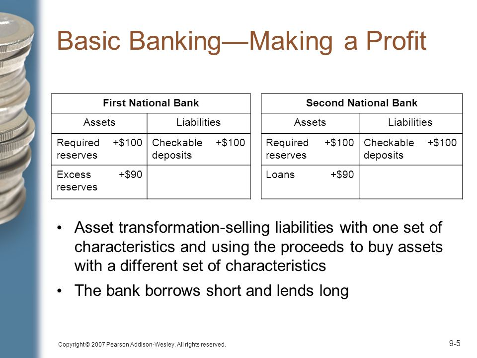 Copyright © 2007 Pearson Addison-Wesley. All rights reserved. 9-5 Basic Banking—Making a Profit Asset transformation-selling liabilities with one set