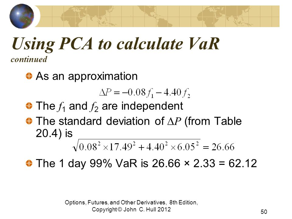 Using PCA to calculate VaR continued As an approximation The f 1 and f 2 are independent The standard deviation of  P (from Table 20.4) is The 1 day