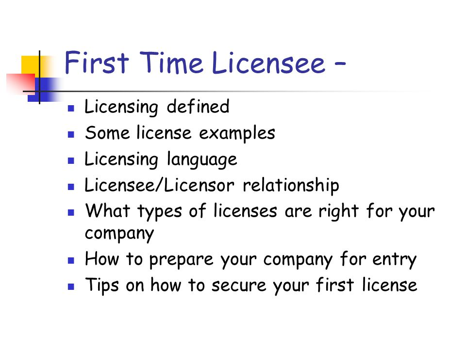 Securing licenses - Preparation Staffing Licensing requires individuals that have a mix of skills.