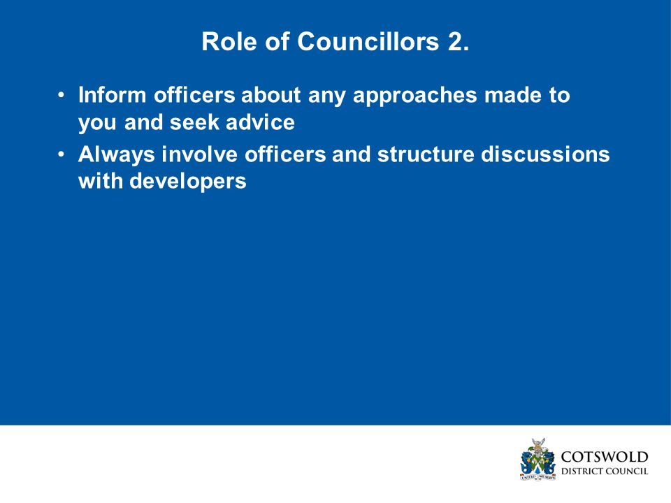 Role of Councillors 2.