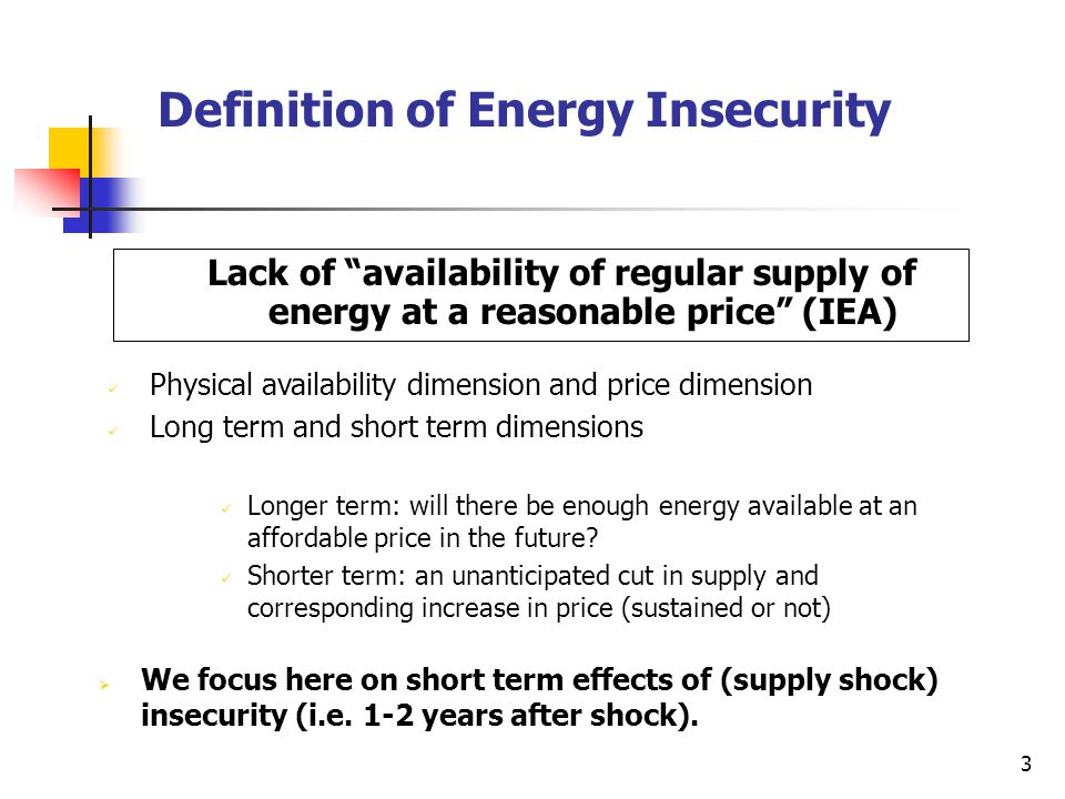 3 Definition of Energy Insecurity Lack of availability of regular supply of energy at a reasonable price (IEA) Physical availability dimension and price dimension Long term and short term dimensions Longer term: will there be enough energy available at an affordable price in the future.