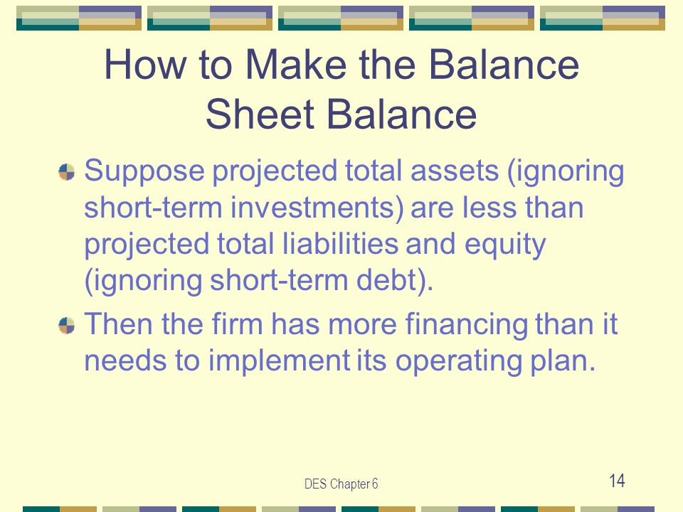 DES Chapter 6 14 How to Make the Balance Sheet Balance Suppose projected total assets (ignoring short-term investments) are less than projected total liabilities and equity (ignoring short-term debt).
