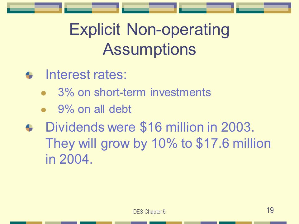 DES Chapter 6 19 Explicit Non-operating Assumptions Interest rates: 3% on short-term investments 9% on all debt Dividends were $16 million in 2003. Th