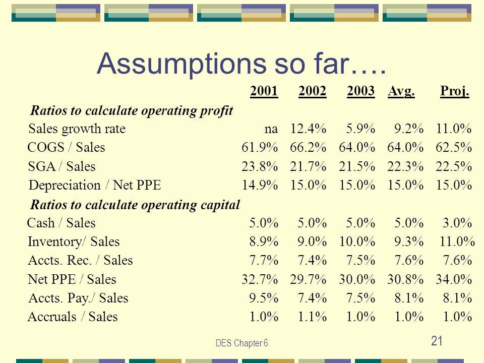 DES Chapter 6 21 Assumptions so far….