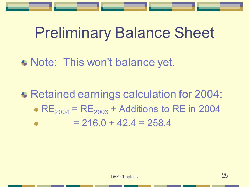 DES Chapter 6 25 Preliminary Balance Sheet Note: This won't balance yet. Retained earnings calculation for 2004: RE 2004 = RE 2003 + Additions to RE i
