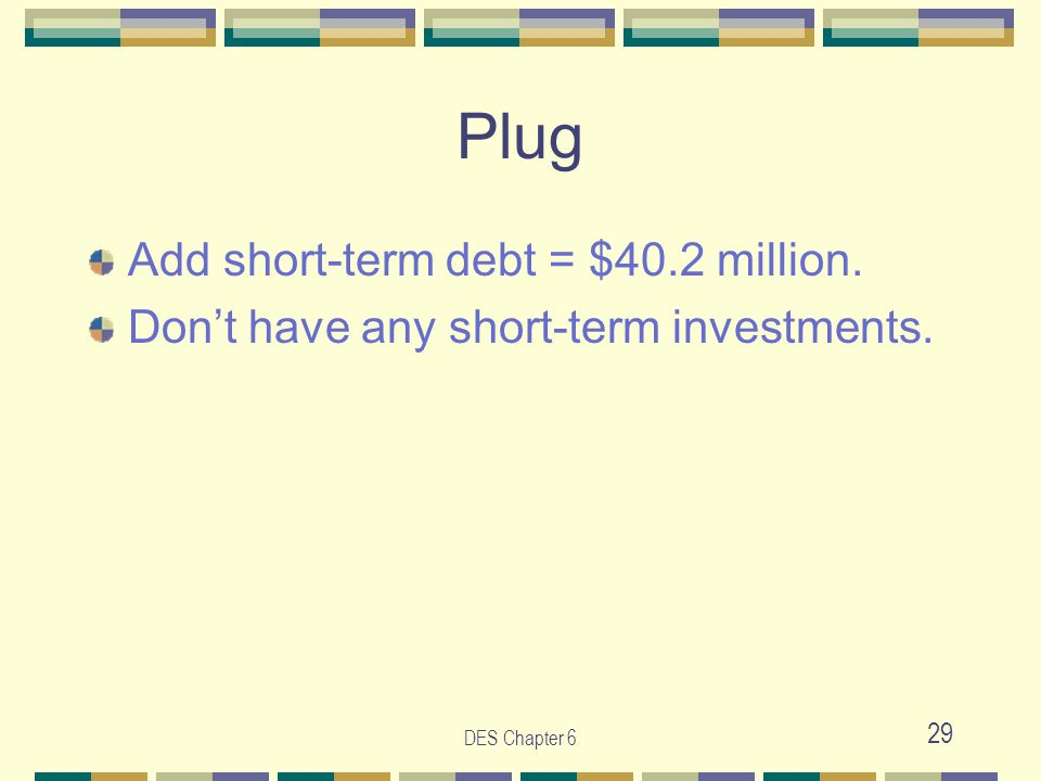DES Chapter 6 29 Plug Add short-term debt = $40.2 million. Don't have any short-term investments.