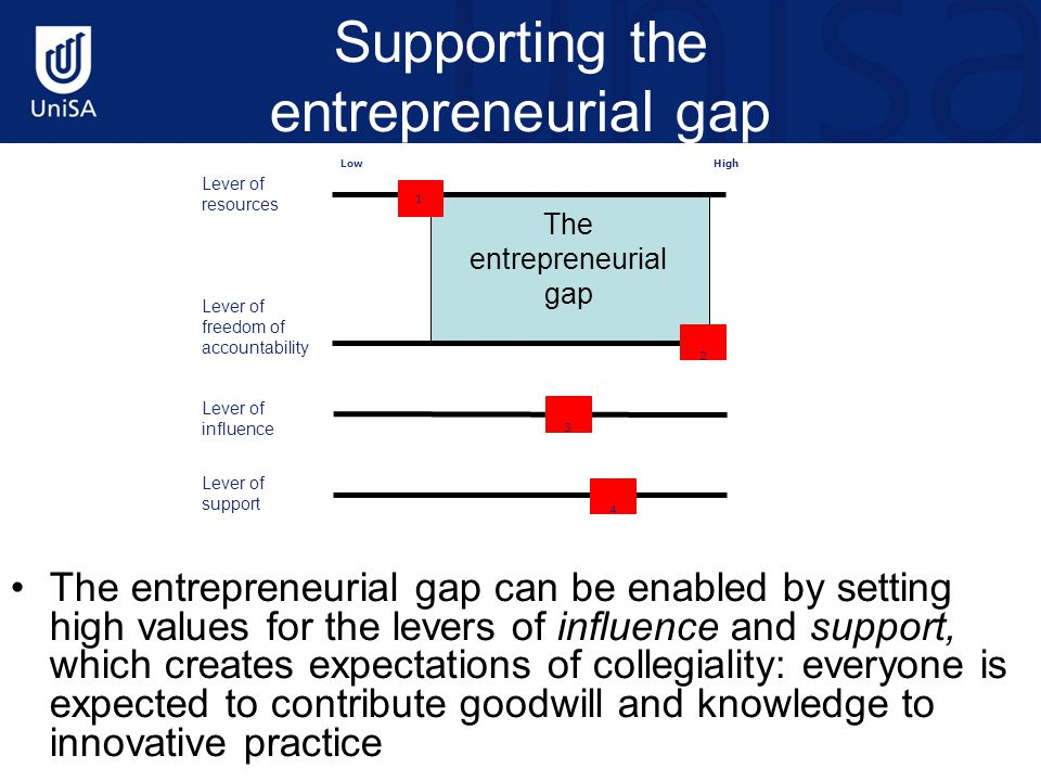 Supporting the entrepreneurial gap The entrepreneurial gap can be enabled by setting high values for the levers of influence and support, which creates expectations of collegiality: everyone is expected to contribute goodwill and knowledge to innovative practice Lever of resources Lever of freedom of accountability Lever of influence Lever of support 1 2 3 4 LowHigh The entrepreneurial gap