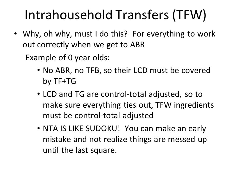 Intrahousehold Transfers (TFW) Why, oh why, must I do this.