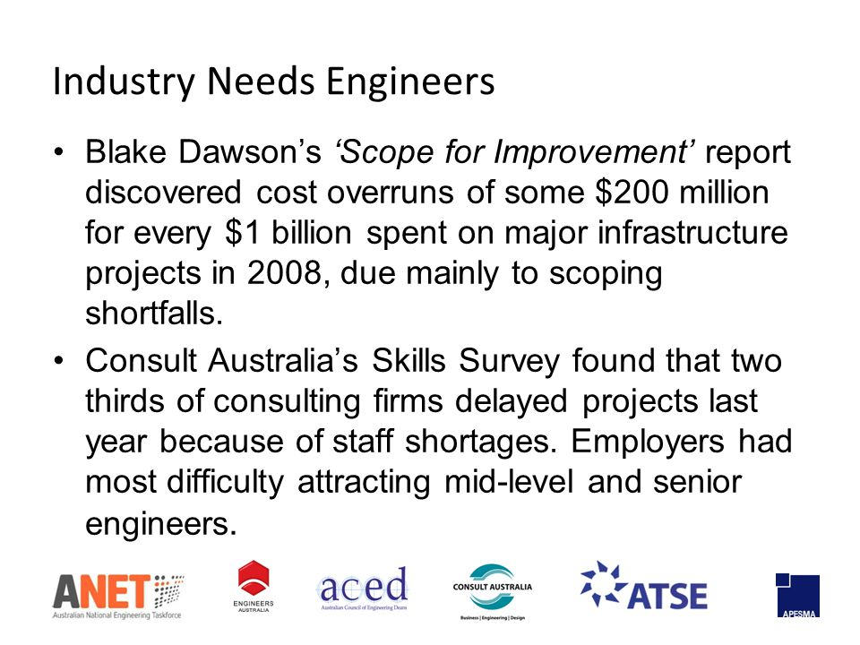 Blake Dawson's 'Scope for Improvement' report discovered cost overruns of some $200 million for every $1 billion spent on major infrastructure projects in 2008, due mainly to scoping shortfalls.