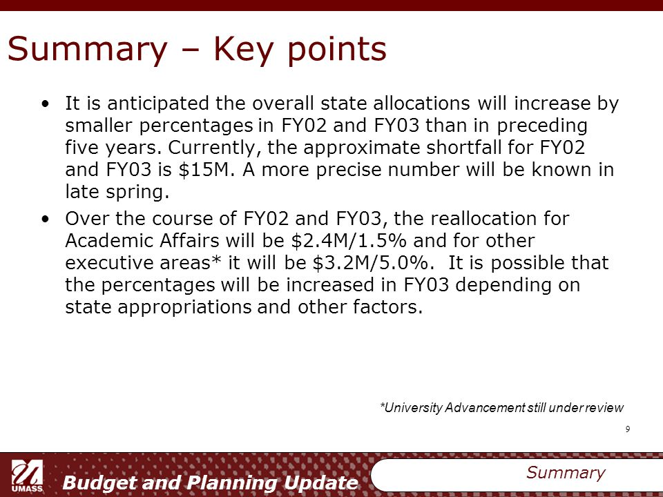 Budget and Planning Update 10 Fiscal Management – Summary 10 Year Financial Plan Summary 10 Year Plan