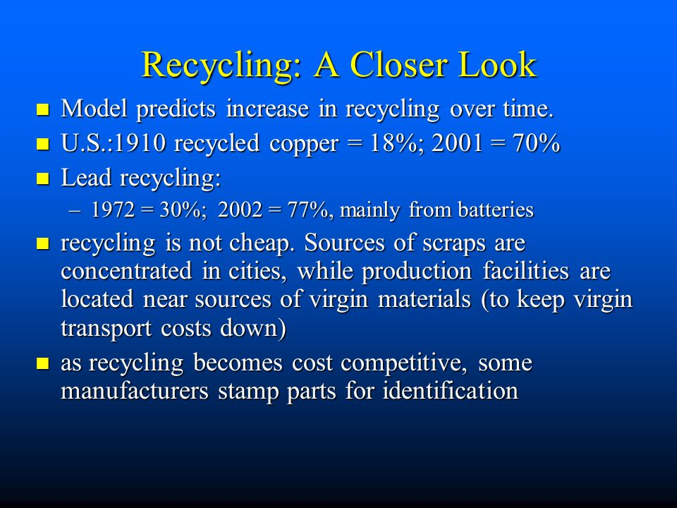 Efficient Allocation of Recyclable Resources n Extraction and disposal cost –1) How would efficient market allocate a recyclable depletable resource?
