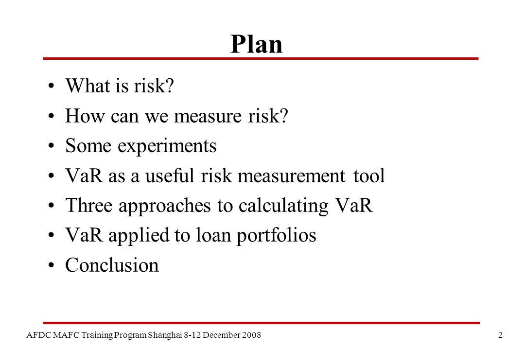 2 AFDC MAFC Training Program Shanghai 8-12 December 2008 Plan What is risk.