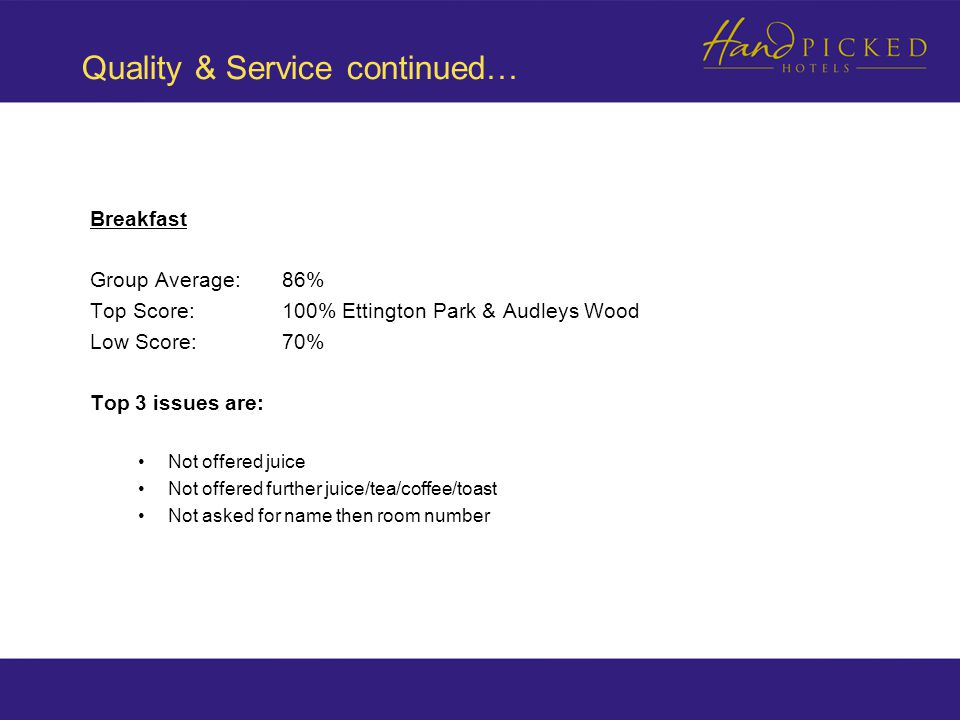 Quality & Service continued… Breakfast Group Average: 86% Top Score:100% Ettington Park & Audleys Wood Low Score:70% Top 3 issues are: Not offered juice Not offered further juice/tea/coffee/toast Not asked for name then room number