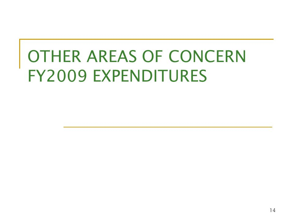 14 OTHER AREAS OF CONCERN FY2009 EXPENDITURES