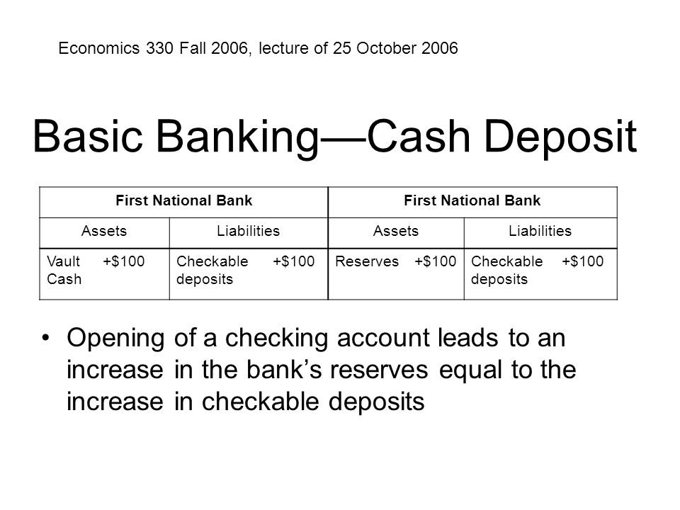 Basic Banking—Cash Deposit Opening of a checking account leads to an increase in the bank's reserves equal to the increase in checkable deposits First National Bank AssetsLiabilitiesAssetsLiabilities Vault Cash +$100Checkable deposits +$100Reserves+$100Checkable deposits +$100 Economics 330 Fall 2006, lecture of 25 October 2006