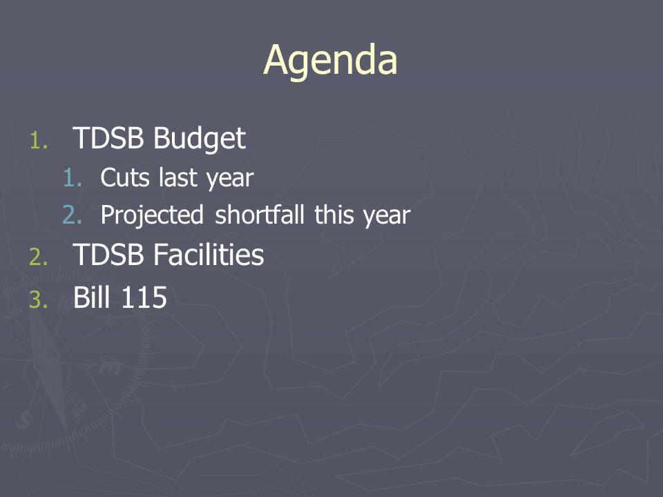 Agenda 1. 1. TDSB Budget 1. 1.Cuts last year 2. 2.Projected shortfall this year 2. 2. TDSB Facilities 3. 3. Bill 115