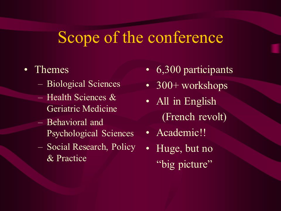 Scope of the conference Themes –Biological Sciences –Health Sciences & Geriatric Medicine –Behavioral and Psychological Sciences –Social Research, Pol