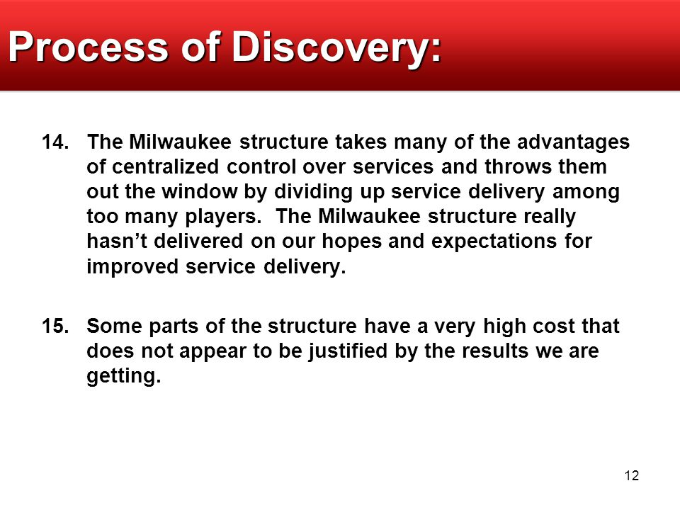 12 Process of Discovery: 14.The Milwaukee structure takes many of the advantages of centralized control over services and throws them out the window by dividing up service delivery among too many players.