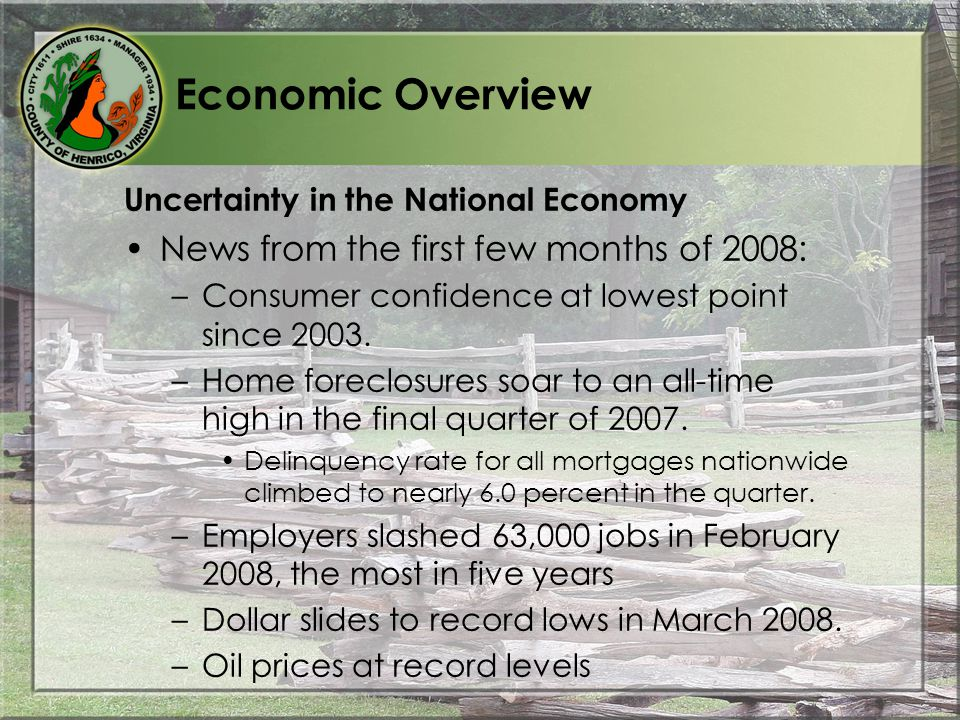 Economic Overview Uncertainty in the National Economy News from the first few months of 2008: –Consumer confidence at lowest point since 2003.