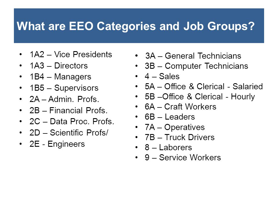 What are EEO Categories and Job Groups? 1A2 – Vice Presidents 1A3 – Directors 1B4 – Managers 1B5 – Supervisors 2A – Admin. Profs. 2B – Financial Profs