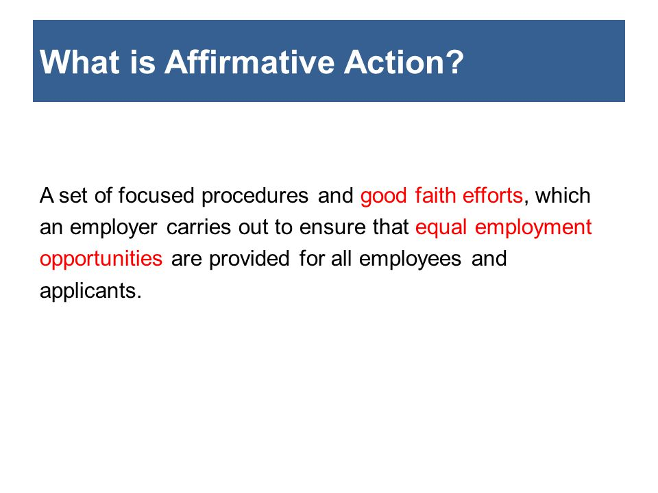 What is an Affirmative Action Plan.