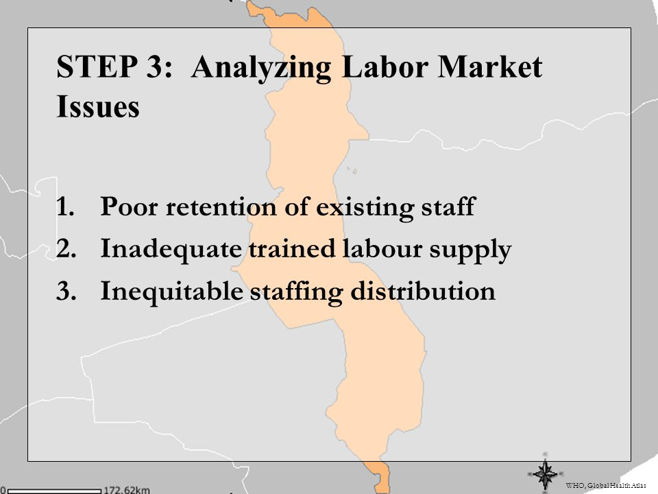 WHO, Global Health Atlas STEP 3: Analyzing Labor Market Issues 1.Poor retention of existing staff 2.Inadequate trained labour supply 3.Inequitable staffing distribution