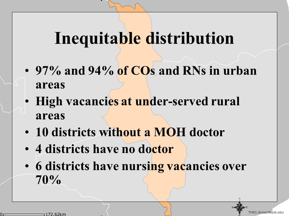 WHO, Global Health Atlas Inequitable distribution 97% and 94% of COs and RNs in urban areas High vacancies at under-served rural areas 10 districts wi