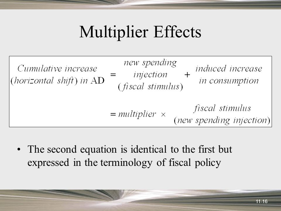 11-16 Multiplier Effects The second equation is identical to the first but expressed in the terminology of fiscal policy