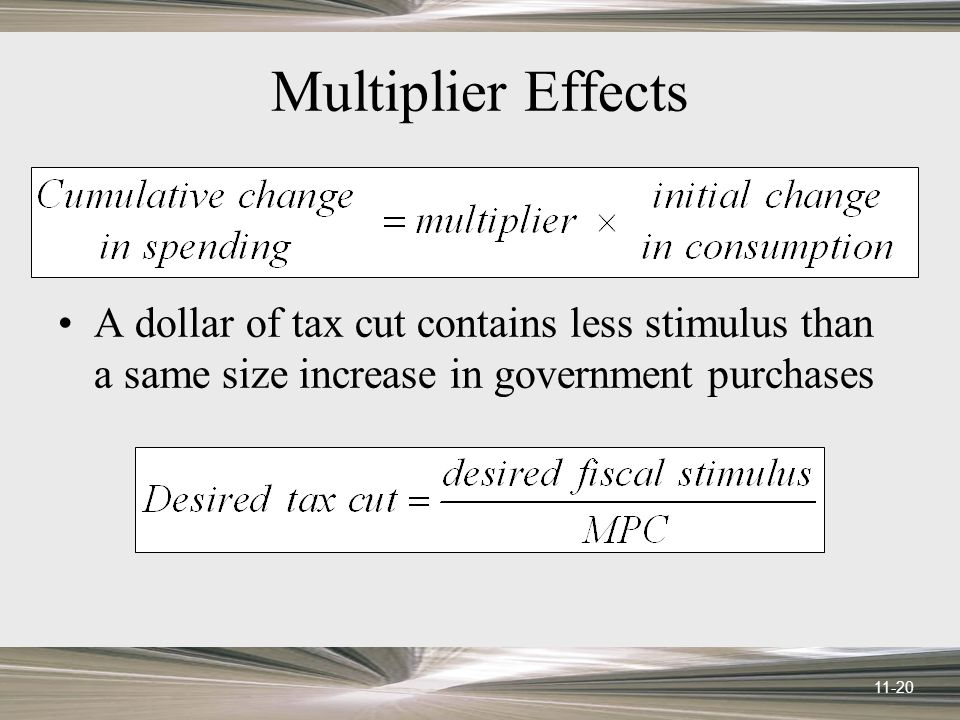 11-20 Multiplier Effects A dollar of tax cut contains less stimulus than a same size increase in government purchases
