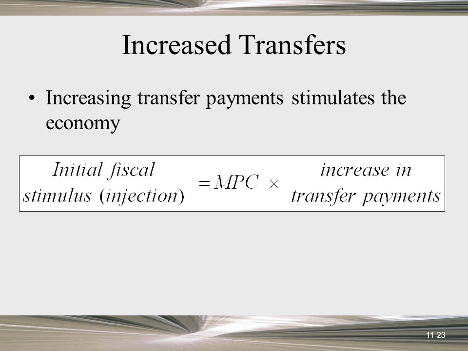 11-23 Increased Transfers Increasing transfer payments stimulates the economy