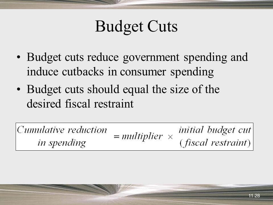 11-28 Budget Cuts Budget cuts reduce government spending and induce cutbacks in consumer spending Budget cuts should equal the size of the desired fis