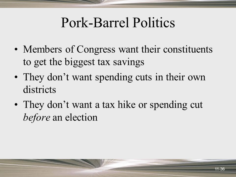 11-36 Pork-Barrel Politics Members of Congress want their constituents to get the biggest tax savings They don't want spending cuts in their own districts They don't want a tax hike or spending cut before an election