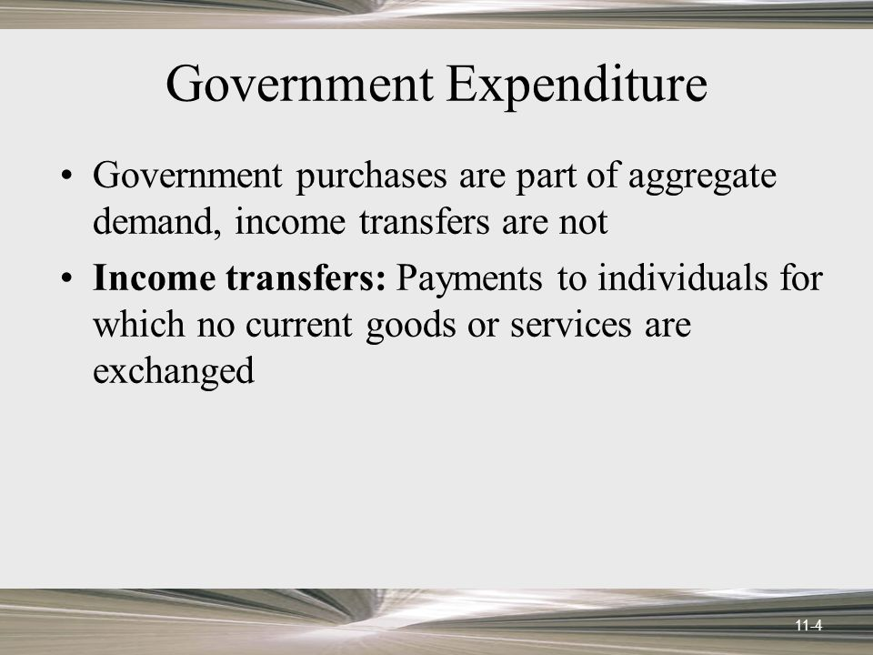 11-4 Government Expenditure Government purchases are part of aggregate demand, income transfers are not Income transfers: Payments to individuals for