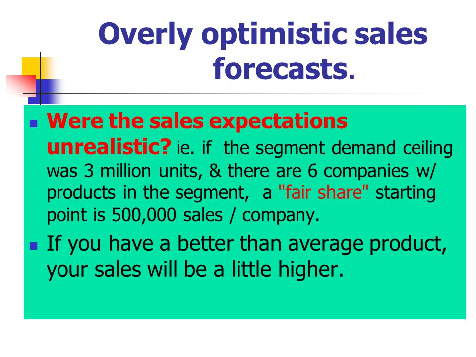 Overly optimistic sales forecasts. Were the sales expectations unrealistic.