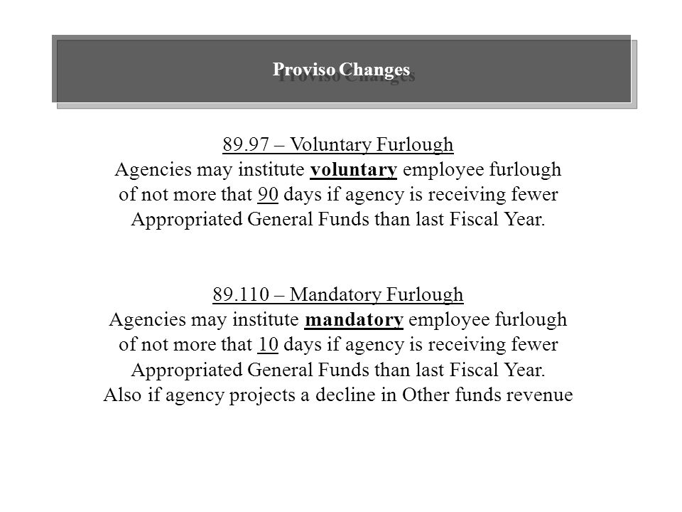 Proviso Changes 89.97 – Voluntary Furlough Agencies may institute voluntary employee furlough of not more that 90 days if agency is receiving fewer Appropriated General Funds than last Fiscal Year.