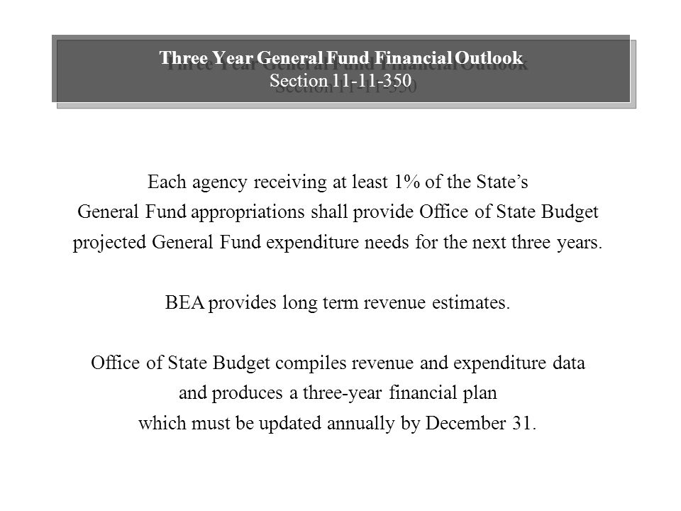 Three Year General Fund Financial Outlook Section 11-11-350 Each agency receiving at least 1% of the State's General Fund appropriations shall provide Office of State Budget projected General Fund expenditure needs for the next three years.