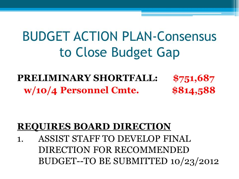 BUDGET ACTION PLAN-Consensus to Close Budget Gap PRELIMINARY SHORTFALL: $751,687 w/10/4 Personnel Cmte.