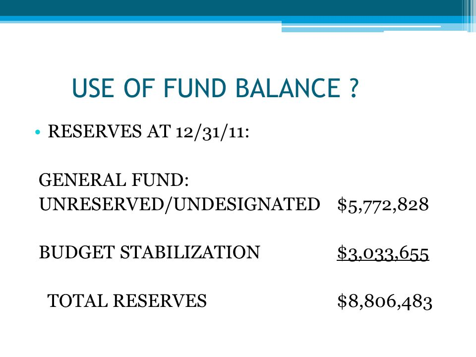 USE OF FUND BALANCE .
