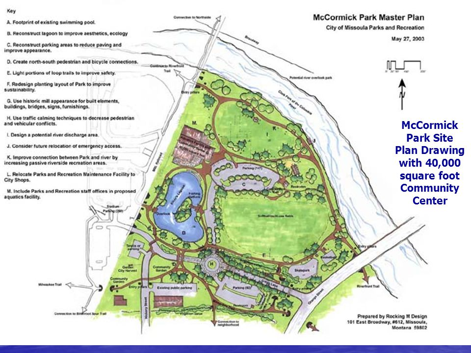 McCormick Park Site Plan Drawing with 40,000 square foot Community Center