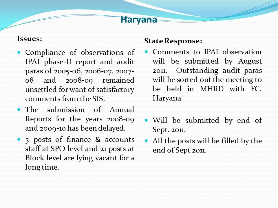 Haryana Issues: Compliance of observations of IPAI phase-II report and audit paras of 2005-06, 2006-07, 2007- 08 and 2008-09 remained unsettled for wa