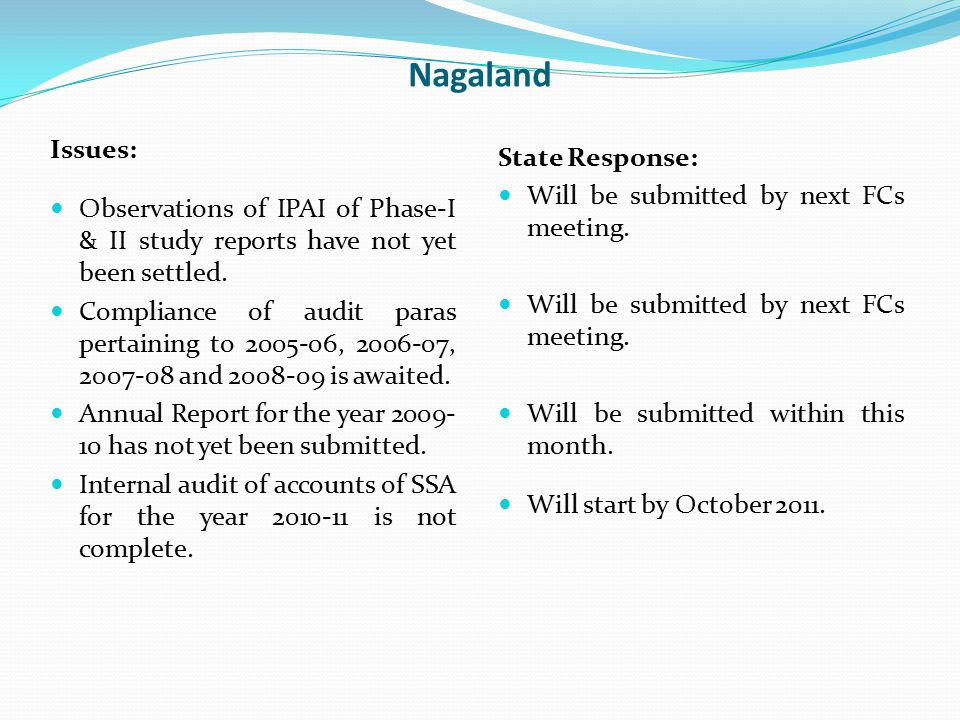 Nagaland Issues: Observations of IPAI of Phase-I & II study reports have not yet been settled. Compliance of audit paras pertaining to 2005-06, 2006-0