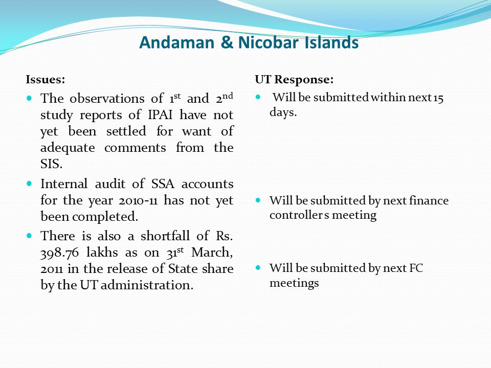 Andaman & Nicobar Islands Issues: The observations of 1 st and 2 nd study reports of IPAI have not yet been settled for want of adequate comments from