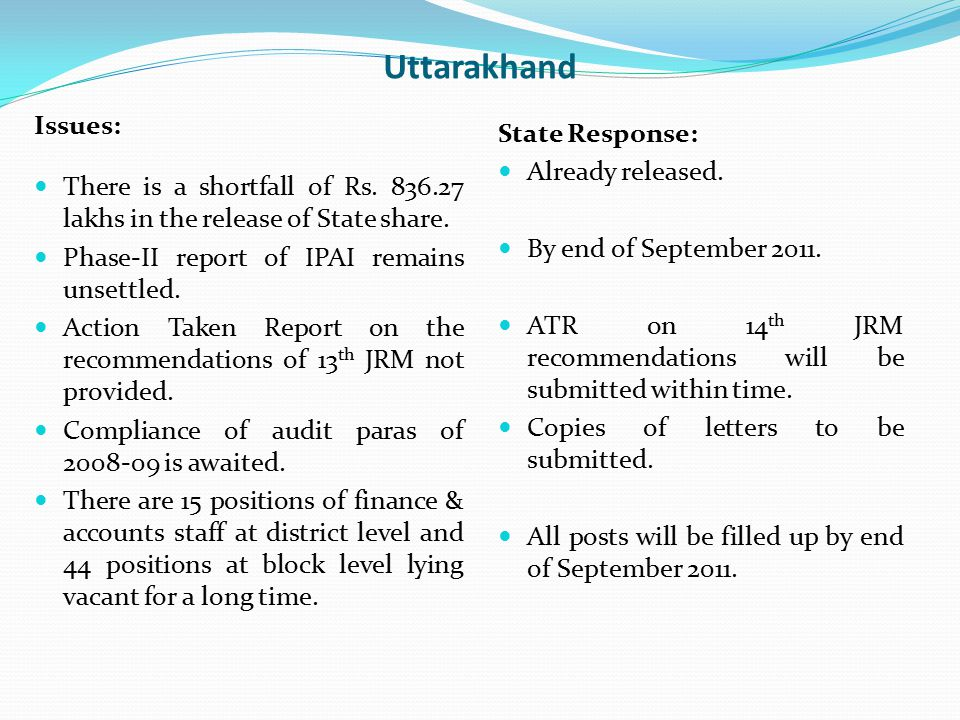 Uttarakhand Issues: There is a shortfall of Rs. 836.27 lakhs in the release of State share. Phase-II report of IPAI remains unsettled. Action Taken Re