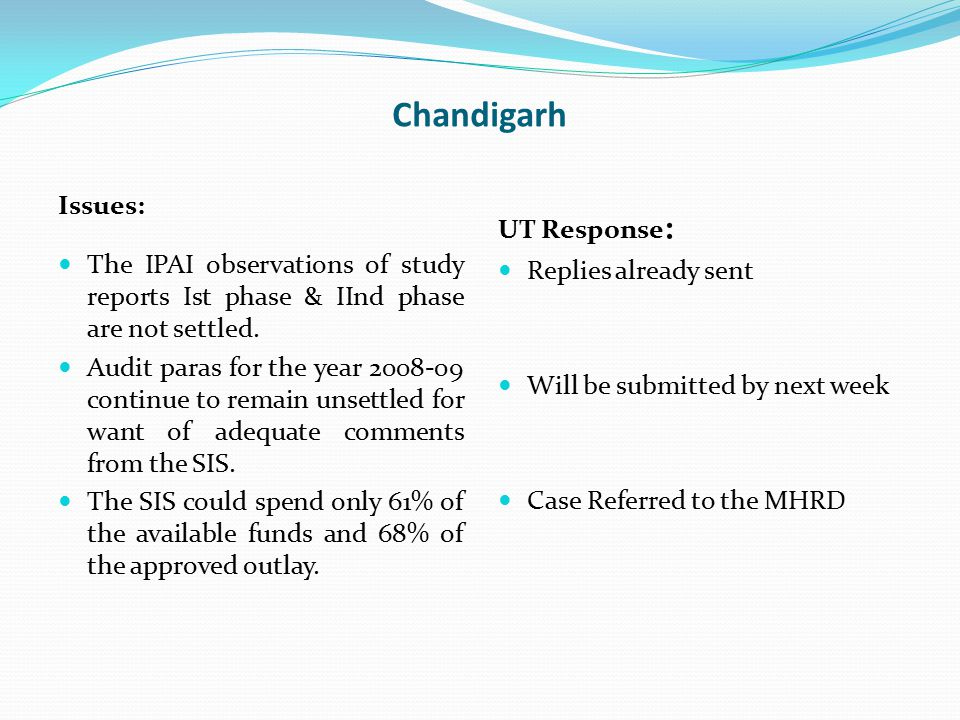 Chandigarh Issues: The IPAI observations of study reports Ist phase & IInd phase are not settled. Audit paras for the year 2008-09 continue to remain