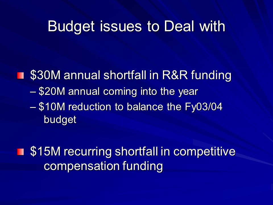 Budget issues to Deal with $30M annual shortfall in R&R funding $30M annual shortfall in R&R funding –$20M annual coming into the year –$10M reduction to balance the Fy03/04 budget $15M recurring shortfall in competitive compensation funding $15M recurring shortfall in competitive compensation funding