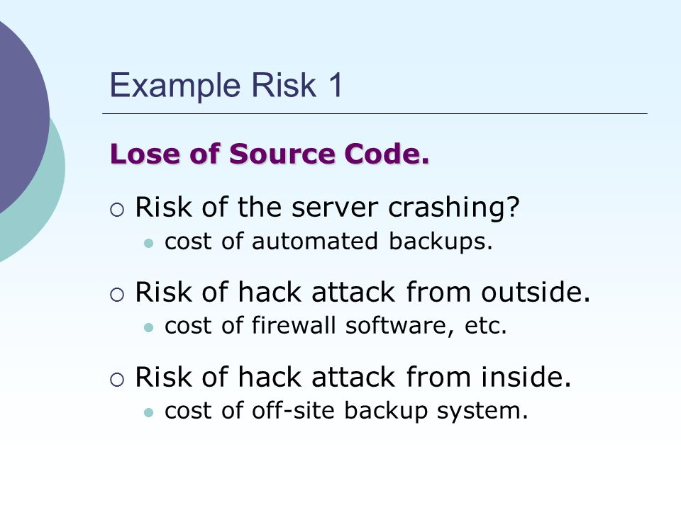 Example Risk 1 Lose of Source Code.  Risk of the server crashing.