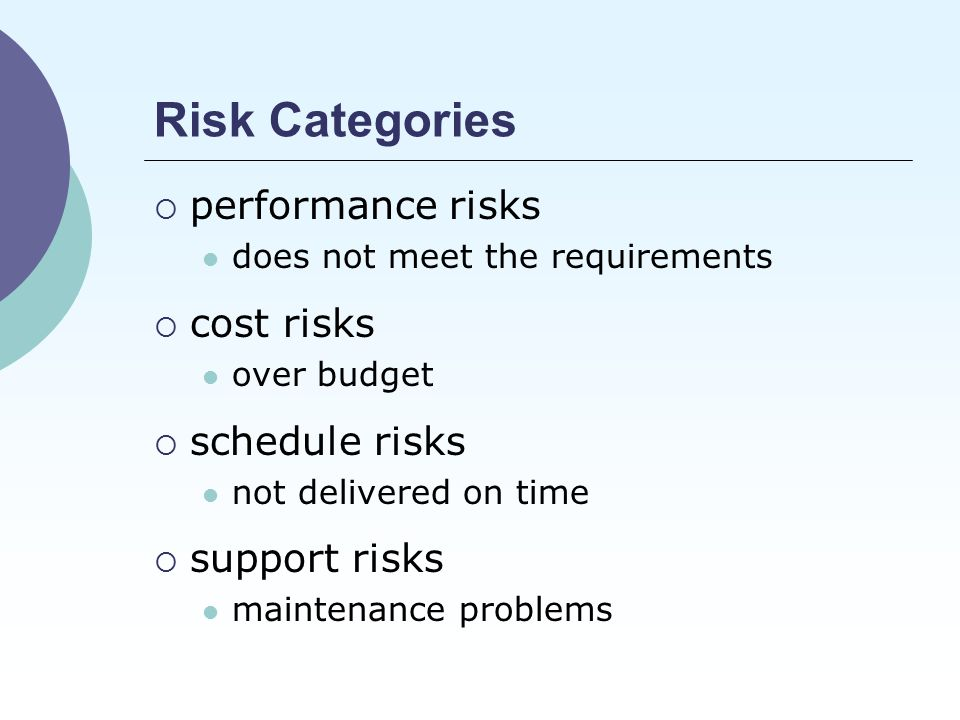 Risk Categories  performance risks does not meet the requirements  cost risks over budget  schedule risks not delivered on time  support risks maintenance problems