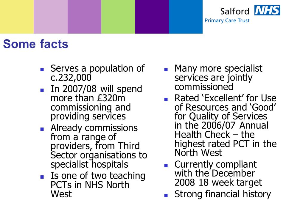 Some facts Serves a population of c.232,000 In 2007/08 will spend more than £320m commissioning and providing services Already commissions from a range of providers, from Third Sector organisations to specialist hospitals Is one of two teaching PCTs in NHS North West Many more specialist services are jointly commissioned Rated 'Excellent' for Use of Resources and 'Good' for Quality of Services in the 2006/07 Annual Health Check – the highest rated PCT in the North West Currently compliant with the December 2008 18 week target Strong financial history