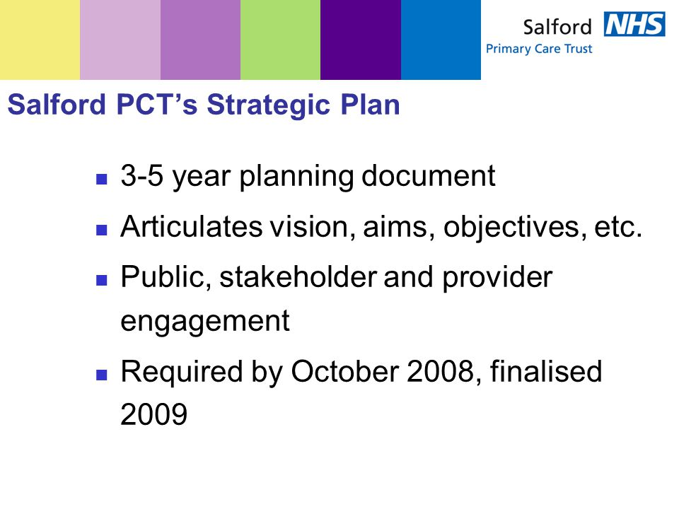 Salford PCT's Strategic Plan 3-5 year planning document Articulates vision, aims, objectives, etc. Public, stakeholder and provider engagement Require
