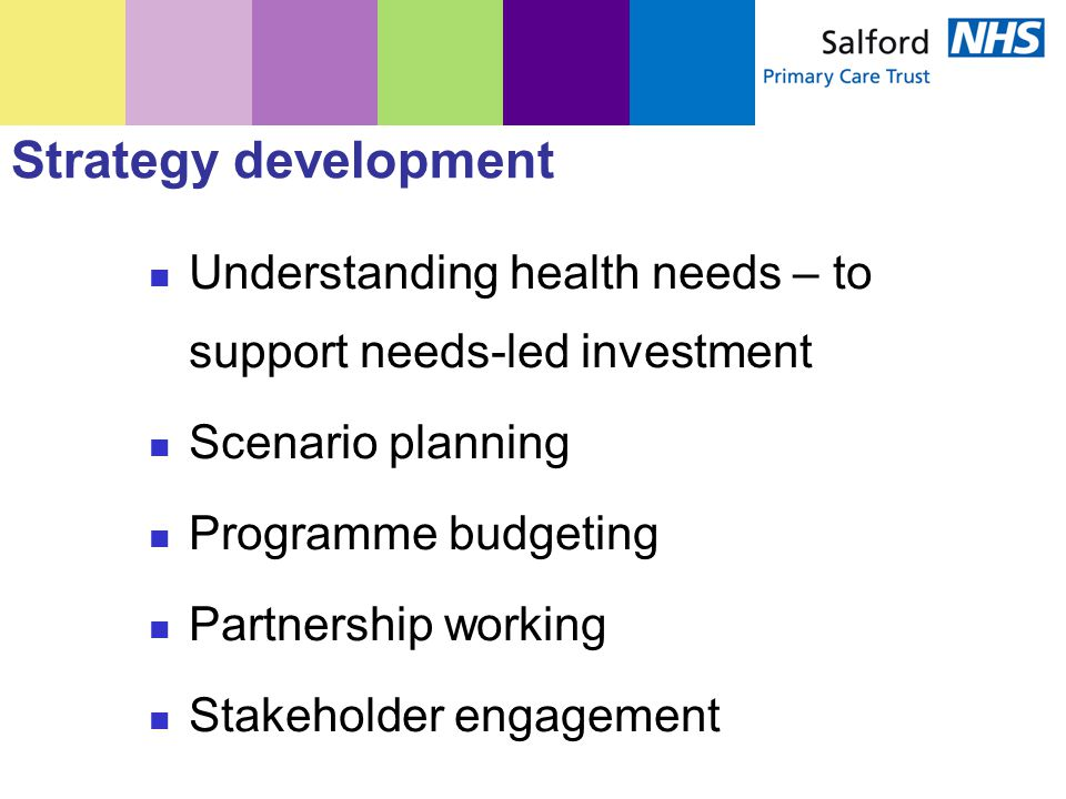 Strategy development Understanding health needs – to support needs-led investment Scenario planning Programme budgeting Partnership working Stakeholder engagement